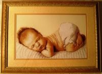 "Картина из вышивки ""Соня"", рамка, стекло, подобранное паспарту в тон"