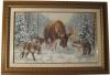 """Вышивка """"Встреча в лесу2, картина, Пятигорск продается, стая волков и лось в зимнем лесу"""