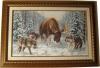 Встреча в лесу, лось и стая волков в зимнем лесу, вышивка продается Пятигорск