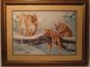 """Картина ручной работы из вышивки крестом """"Рыси"""", купить в Пятигорске, оформлена в рамку, под стеклом, двойное паспарту"""