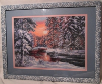 """Оформленная картина из вышивки """"Зимний веечер"""", ручная работа, 24 цвета. Пятигорск, на КМВ купить"""