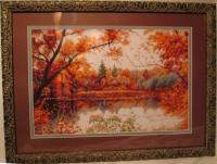 """""""Отражение осени"""", картина под стеклом, двойное паспарту разных цветов. Пятигорск"""