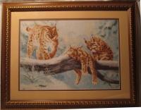 """""""Рыси"""", картина ручной работы купить в Пятигорске, на КМВ, двойное паспарту. рамка, стекло."""