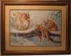 """Продается картина ручной работы из вышивки крестом, """"Рыси"""", рамка, двойное паспарту, стекло. Пятигорск, КМВ"""