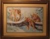 """Картина """"Рыси"""", вышивка крестом, ручная работа. Оформлена под рамку в багетной мастерской, Пятигорск"""